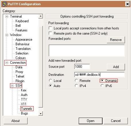 Putty Config Tunnel SSH